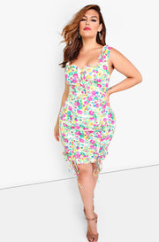 Fuchsia Floral Ruched Mini Dress Plus Sizes