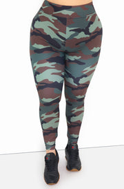 Olive Camo High Waist Leggings Plus Sizes