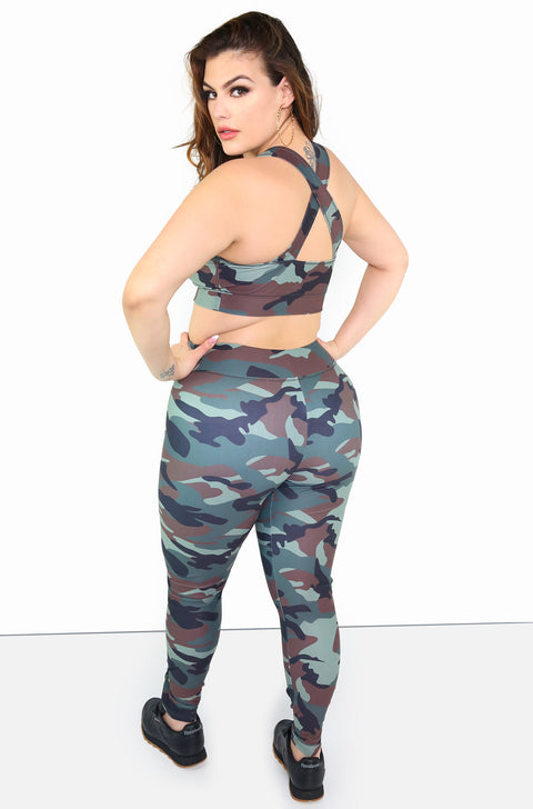 Olive Camo Sports Bra Plus Sizes