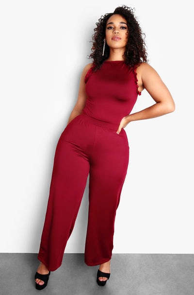 Burgundy High Waisted Pants Plus Sizes