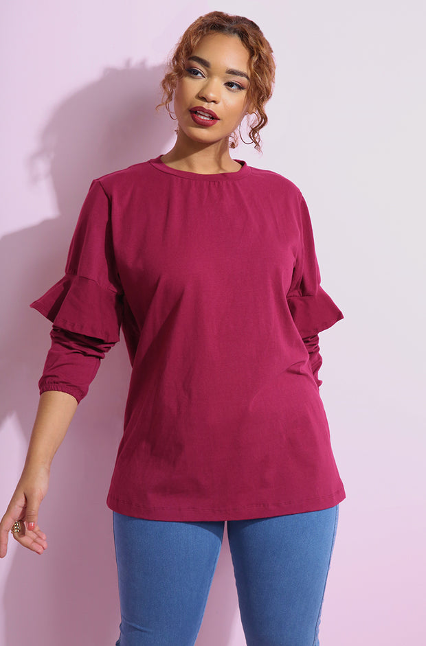 Burgundy Relaxed fit Ruffled Sleeve Top plus sizes