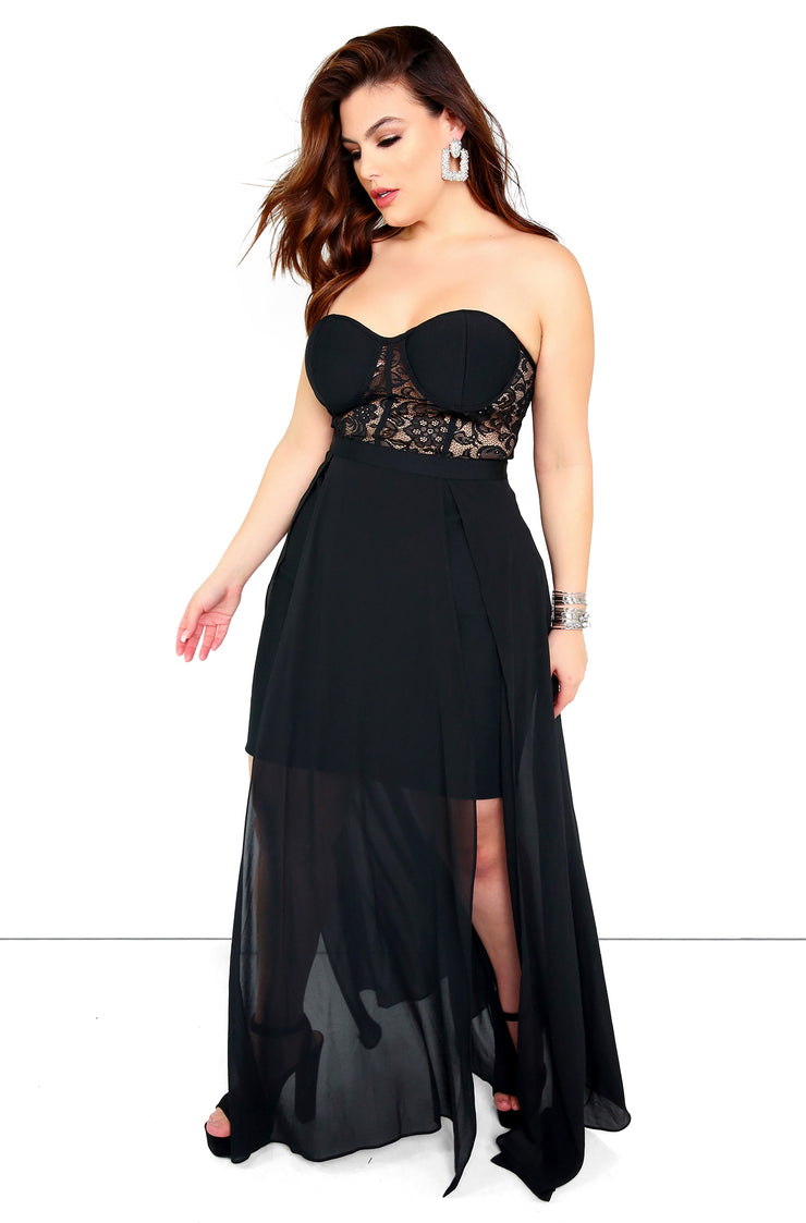 Black Mesh Sleeveless Maxi Dress Plus Sizes