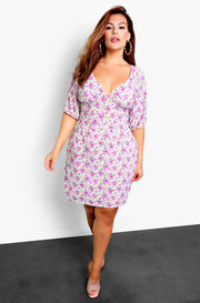 White Floral A-Line Peasant Mini Dress Plus Sizes