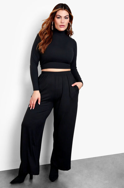 Black Long Sleeve Crop Top & High Waisted Pants Set
