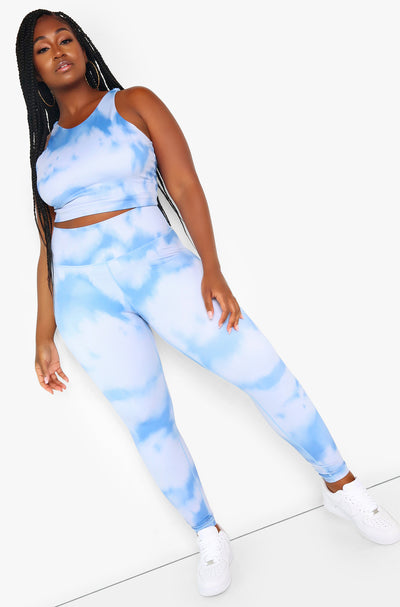 Blue Tie Dye High Leggings Plus Sizes