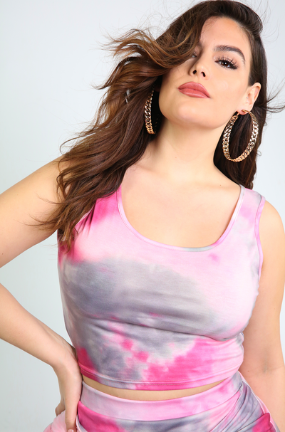 Fuchsia Tie Dye Crop Top Plus Sizes