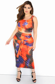 Orange Tie Dye Maxi Skirt Plus Sizes