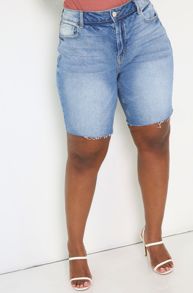 Blue Denim Bermuda Shorts Plus Size