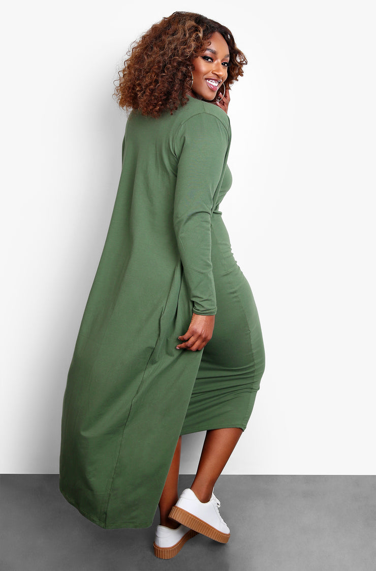 Olive V-Neck Midi Dress & Cardigan Set