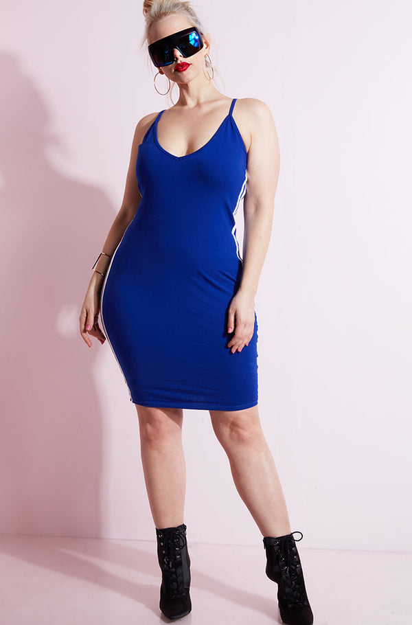 Royal Blue 2 Stripe V-Neck Bodycon Mini Dress plus sizes