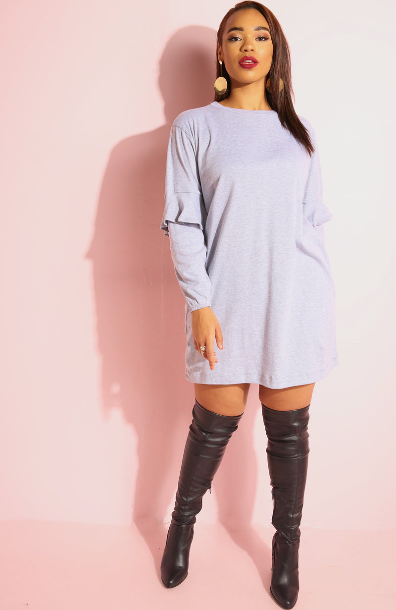 Heather Gray Ruffles Sleeve T-shirt Dress plus sizes