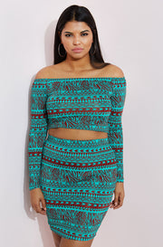 Green The shoulder Crop Tap plus sizes