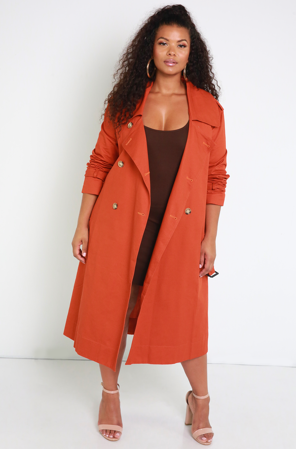 Brick Red Classic Trench Coat Plus Sizes