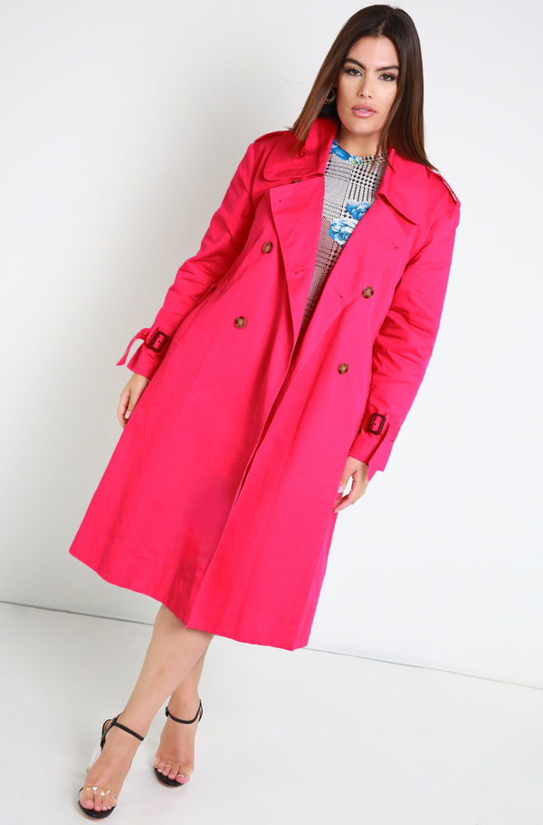 Magenta Classic Trench Coat Plus Sizes