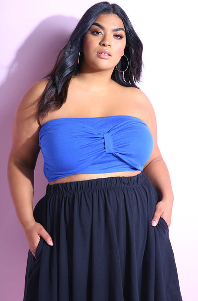 Sweetheart neckline royal blue crop top with bow style detail plus sizes