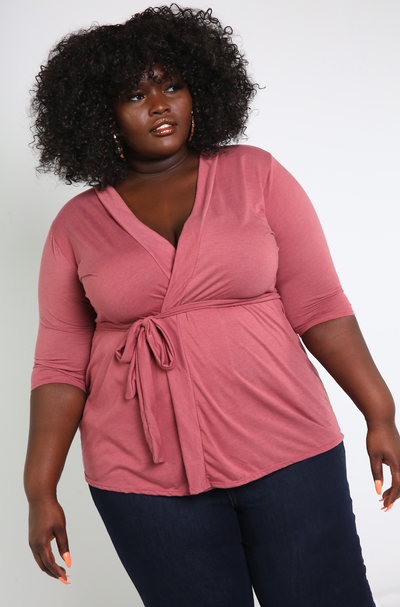 Brick Dust Light-Weight Cardigan Plus Sizes