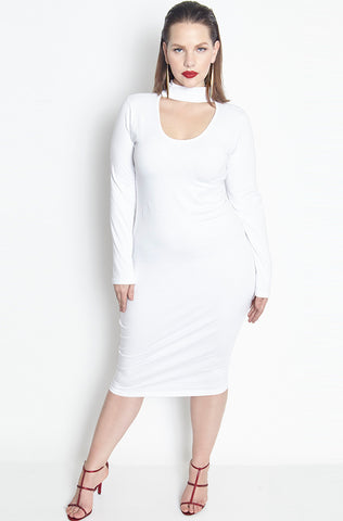 Rebdolls Ribbed Long Sleeve V-Neck Midi Dress- Gray - FINAL SALE CLEARANCE
