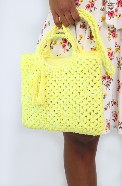 Yellow Straw Tote Bag