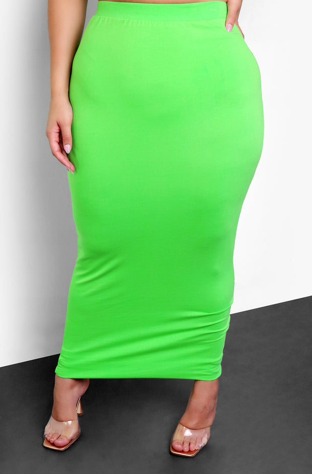 Lime Green Bodycon Maxi Skirt Plus Size