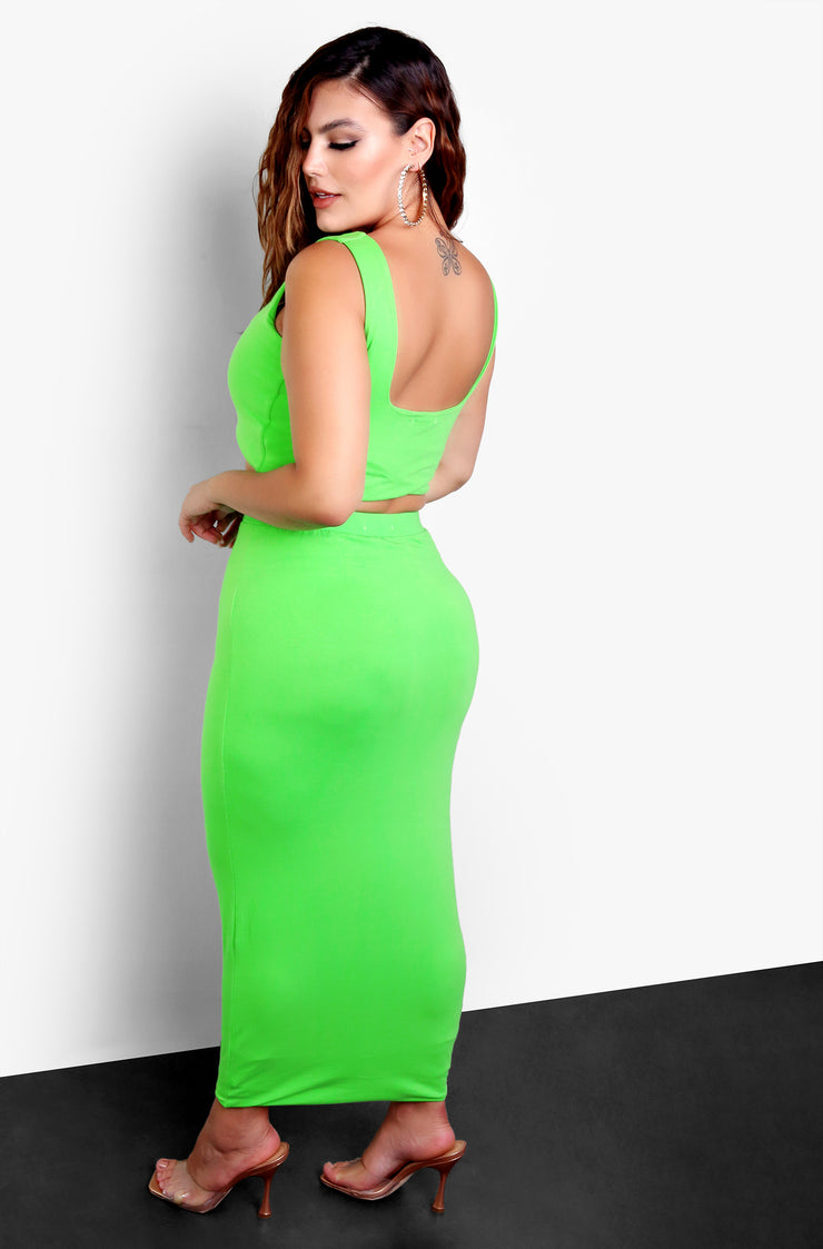 Lime Green Cropped Tank Top Plus Size