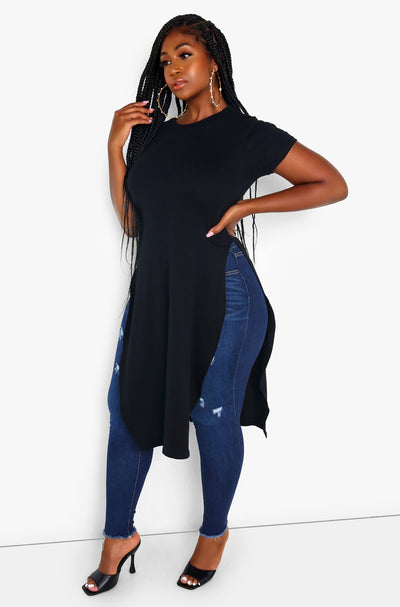 Black Longline Side Slit Tee Plus Size