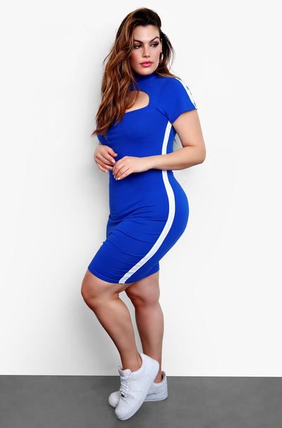 Royal Blue High Neck Short Sleeve Sporty Mini Dress Plus Sizes