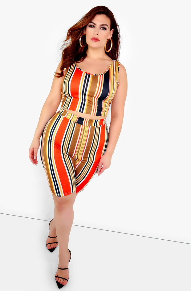 Orange Striped Bermuda Leggings Plus Sizes
