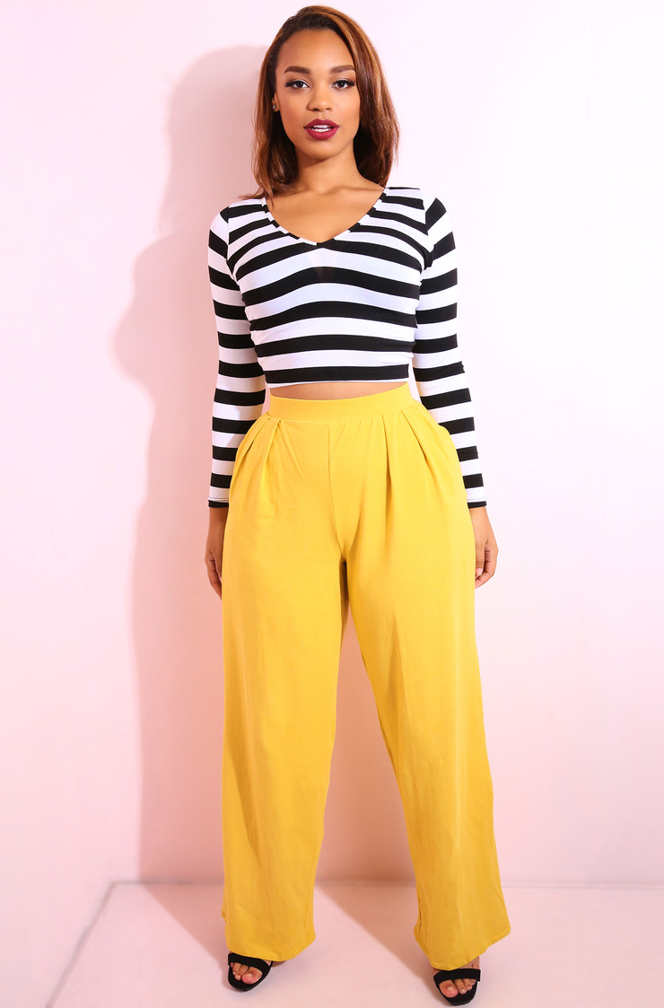 Mustard Pleated Pants Plus Sizes