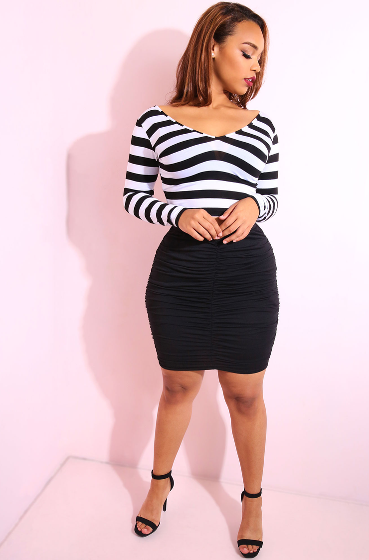 Black Ruched Bodycon Mini Skirt Plus Sizes