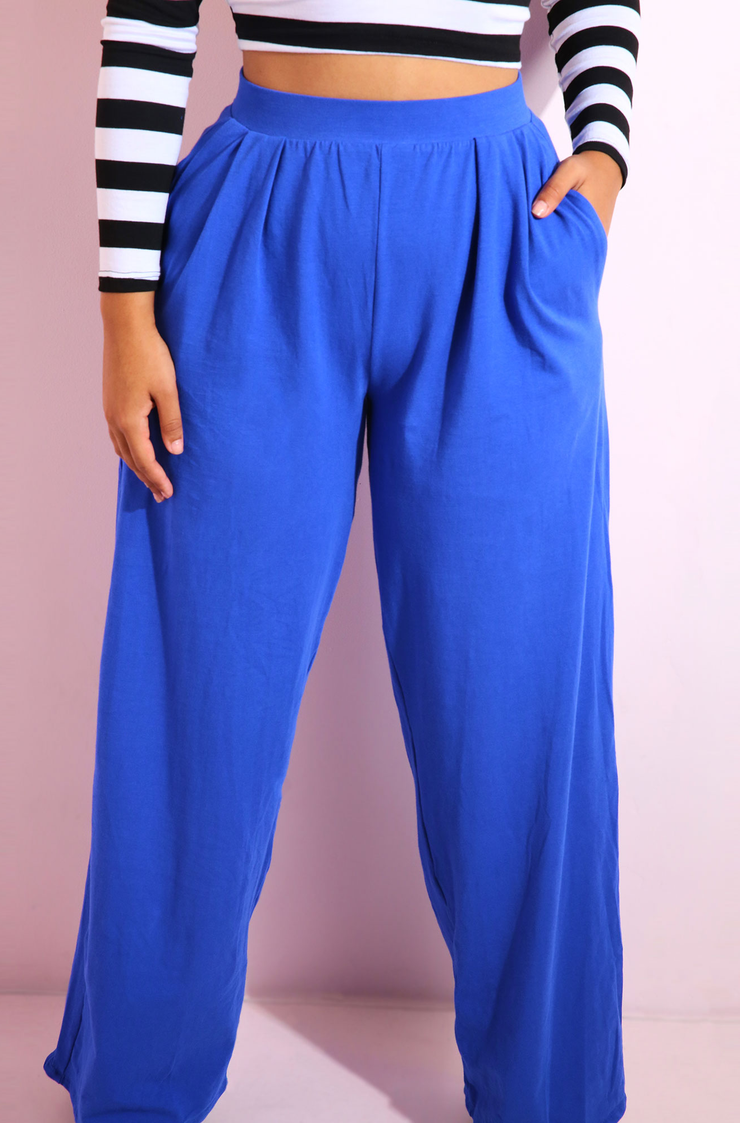 Royal Blue Pleated Pants Plus Sizes