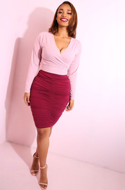 Burgundy Ruched Bodycon Mini Skirt Plus Sizes