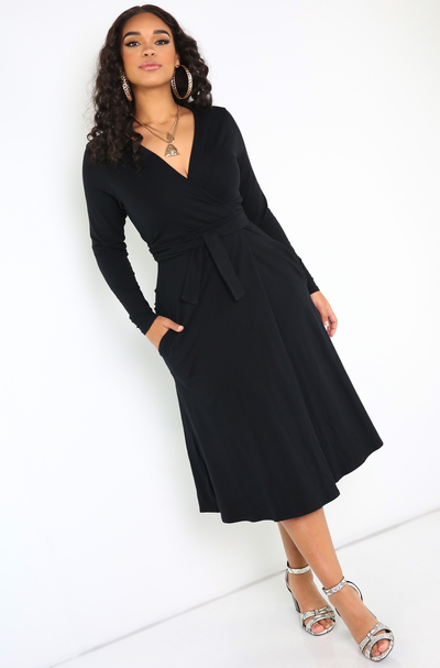 Black Wrap Midi Dress Plus Sizes