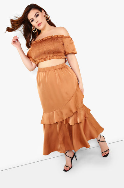 Copper Ruffle Maxi Skirt Plus Sizes
