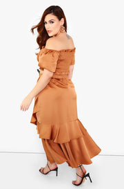 Copper Over The Shoulder Smocked Crop Top Plus Sizes