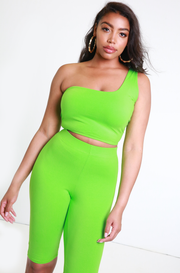 Lime Green One Shoulder Crop Top Plus Sizes