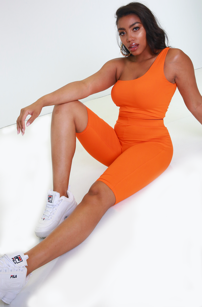 Orange Short Leggings Plus Sizes
