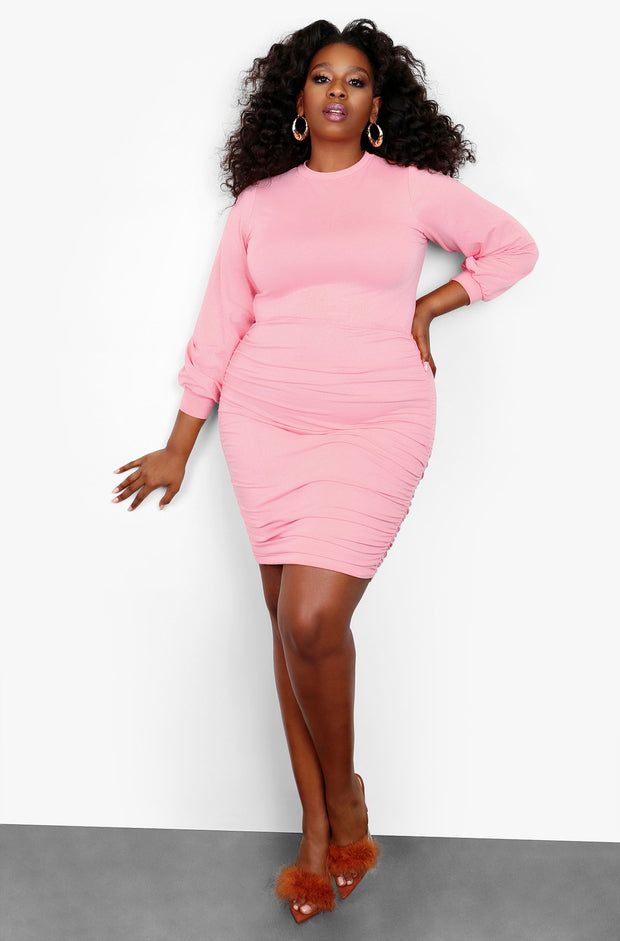 "Rebdolls ""Another One"" Ruched High Neck Long Sleeve Mini Dress- Baby Pink"