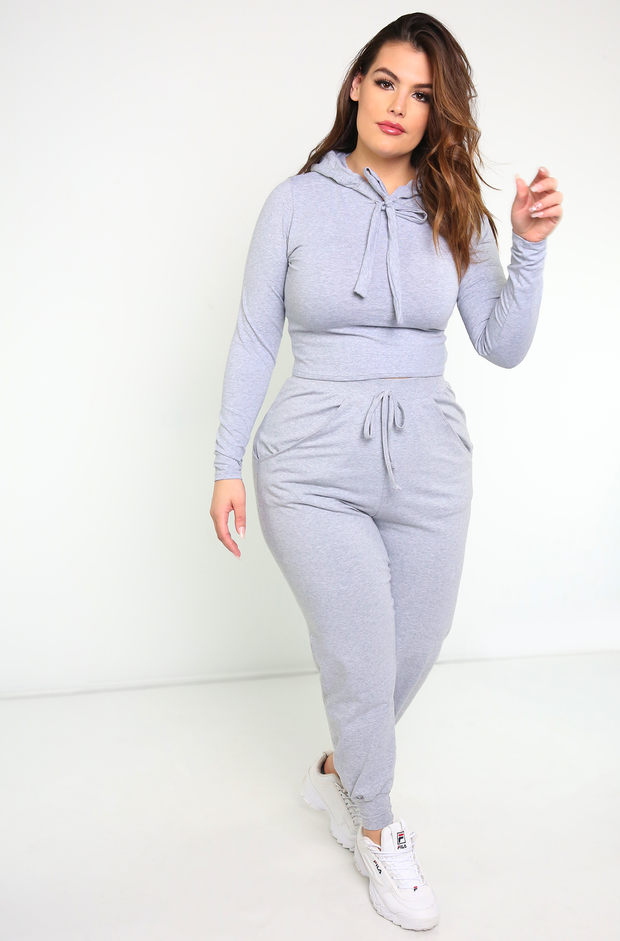 Gray Hooded Long Sleeve Crop Top Plus Sizes