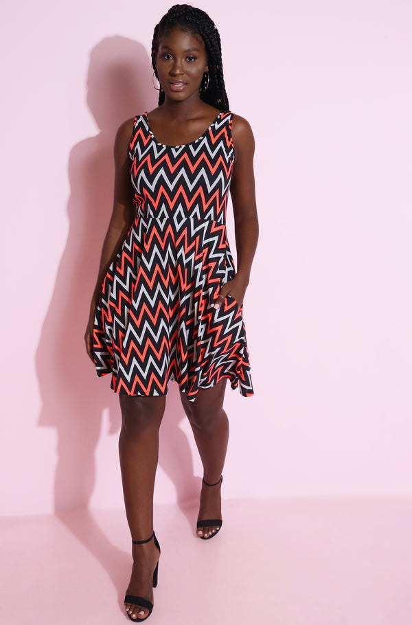 Pink Chevron Skater Mini Dress Plus Sizes