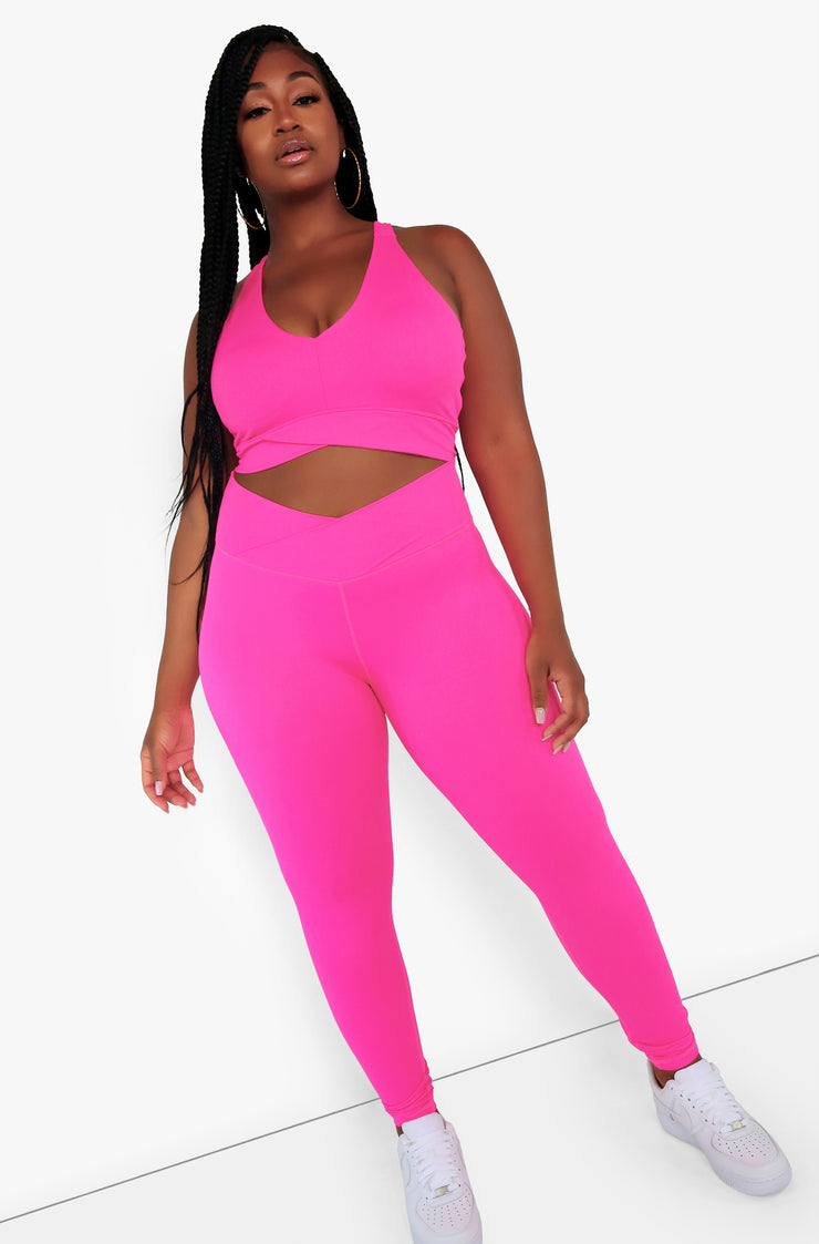 Hot Pink Razor Back Sports Bra Plus Sizes