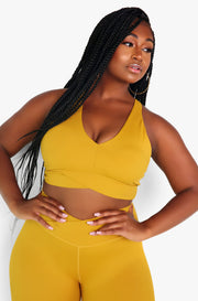 Mustard Razor Back Sports Bra Plus Sizes