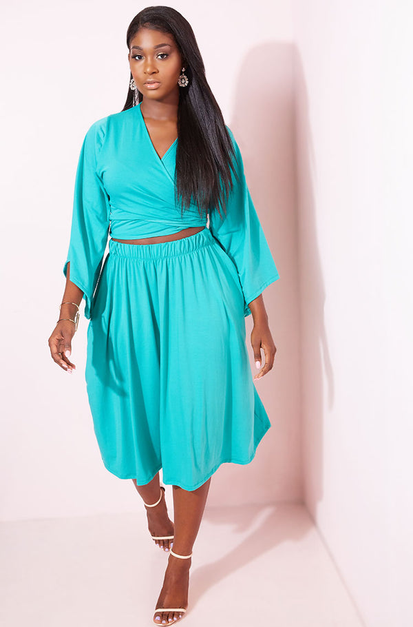 Turquoise Skater Midi Skirt With Pockets plus sizes