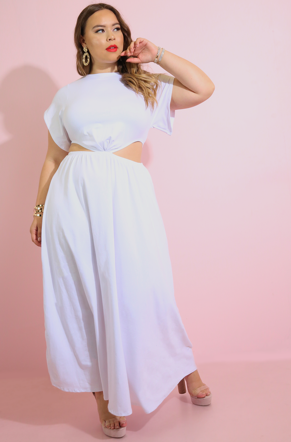 White Cut-Out Skater Maxi Dress plus sizes