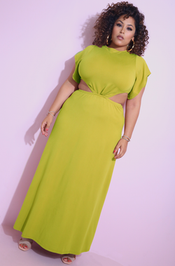Chartreuse Flutter Sleeve Cut-Out Maxi Dress Plus Sizes