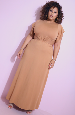Mocha Flutter Sleeve Cut-Out Maxi Dress Plus Sizes