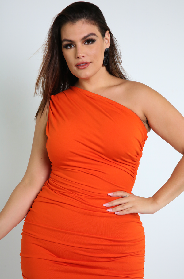 Orange Ruched Bodycon Midi Dress Plus Sizes