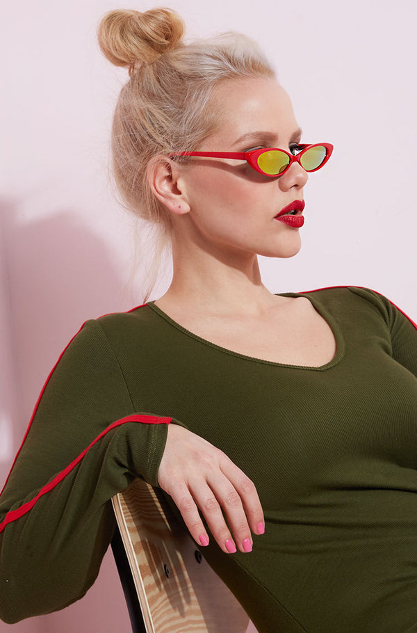 Red Cat Eye Mini Sunglasses