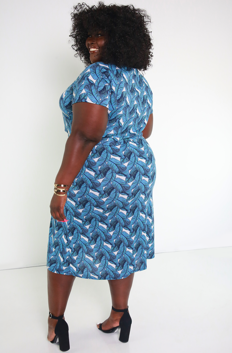 Blue Leaf Printed High Slit Midi Skirt Plus Sizes