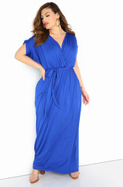 Royal Blue Draped Neckline Maxi Dress Plus Size