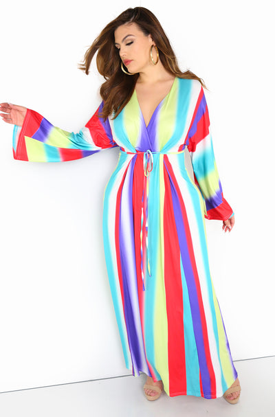 Rainbow Kimono Maxi Dress Plus Size